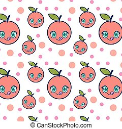 cute orange fruit kawaii pattern