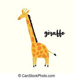 Cute orange giraffe on white background