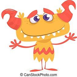 Cute orange monster. Vector cartoon