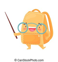 Cute orange schoolbag holds a pointer. Vector illustration on white background.