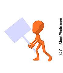 Cute Orange Silhouette Guy Holding A Blank Sign - Cute...