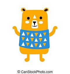 Cute orange teddy bear in blue vest standing.