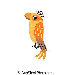 Cute Orange Tropical Parrot Bird Vector Illustration