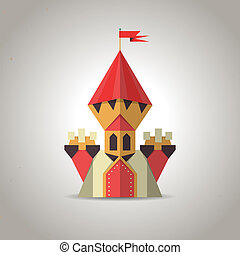 Cute origami castle from folded paper. Icon. - Illustration...