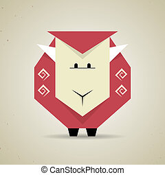 Cute origami geometric sheep from folded paper -...