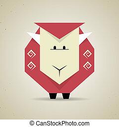 Cute origami geometric sheep from folded paper -...
