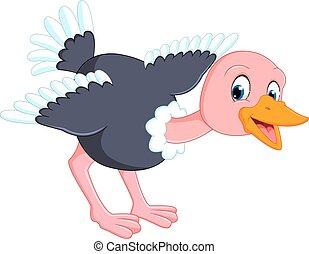 Cute ostrich cartoon - illustration of Cute ostrich cartoon