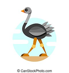 Cute Ostrich in flat style isolated on white background. Vector illustration.