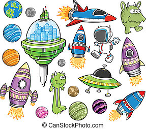 Cute Outer Space Vector Design set - Cute Outer Space Vector...