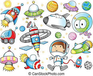 Cute Outer Space Vector Set - Cute Outer Space Spaceships...