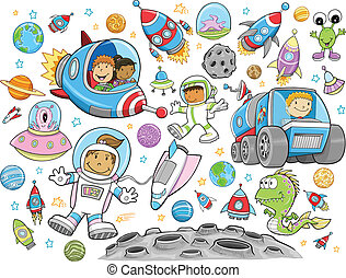 Cute Outer Space Vector set - Cute Outer Space Vector...