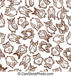 Cute outline brown owls seamless pattern