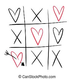 Cute outline vector tic tac toe with black crossings and pink hearts. Love game for greeting St Valentine day card design, banner