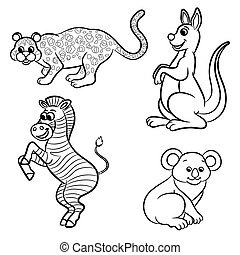 Cute outlined zoo animals collectio