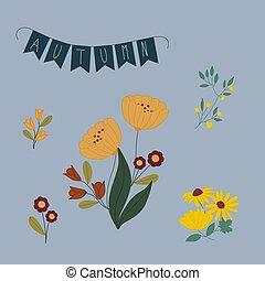 cute, outono, ilustração, flores, vetorial