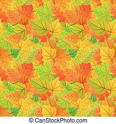 cute, outono sai, de, diferente, tipo, de, árvores, seamless, padrão