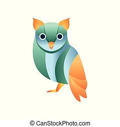 Cute owl bird, stylized geometric animal low poly design vector Illustration