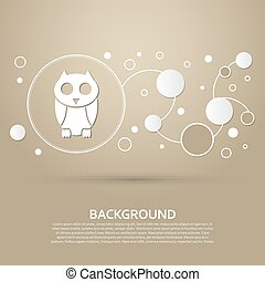 Cute owl cartoon character icon on a brown background with elegant style and modern design infographic. Vector