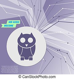 Cute owl cartoon character icon on purple abstract modern background. The lines in all directions. With room for your advertising. Vector