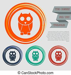 Cute owl cartoon character icon on the red, blue, green, orange buttons for your website and design with space text. Vector