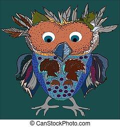 Cute Owl, cartoon drawing, cute illustration for children, vector illustrations (hipster symbol series)