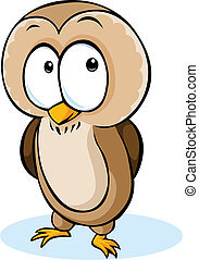 cute owl cartoon - vector illustration isolated on white background