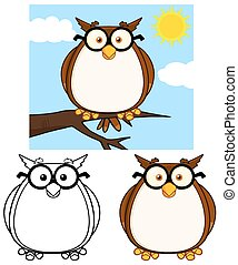 Cute Owl Character 1. Collection