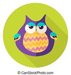Cute Owl Circle Icon