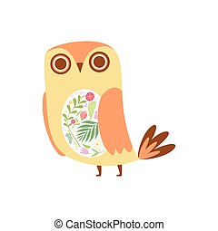 Cute Owl Decorated with Floral Seamless Pattern, Lovely Bird Cartoon Character Vector Illustration