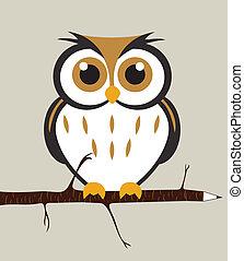 Cute Owl - Owl sitting on a pencil branch. Easy editable...