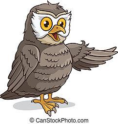 Cute Owl - Vector illustration of a cute owl isolated on a...