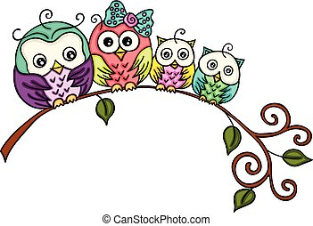 Cute owl family on a branch
