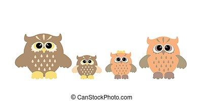 Cute owl family