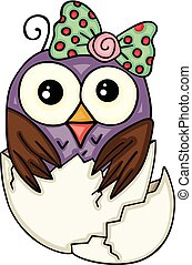 Cute owl girl in broken egg