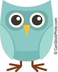 Cute owl icon, flat style