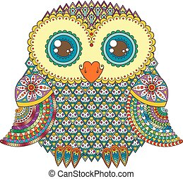 Cute owl illustration. Ornate patterned bird. Picture for ...