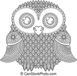 Cute owl illustration. Ornate patterned bird. Picture for...