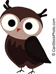 Cute owl, illustration, vector on white background.