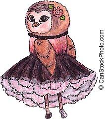 Cute owl in a dress. Watercolor, vector.