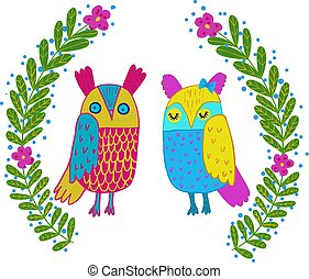 Cute owl in flowers frame.Cute hand drawn animal characters for kids design.Mothers day greeting card