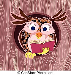 Cute Owl in tree hole reading the book. Cartoon owl character Wooden deak texture background. Owl on a tree.