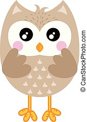 Cute owl isolated on white background