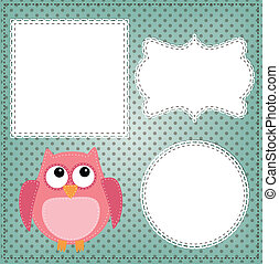 Cute owl layout with vintage lace frames