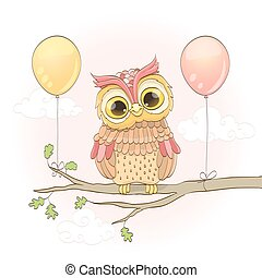 cute owl on a branch and balloons over pink sky with clouds. cartoon vector illustration