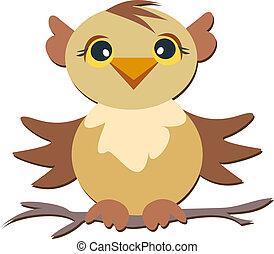 Cute Owl on a Branch