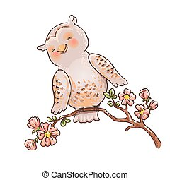 Cute owl on a branch. Spring kids illustration