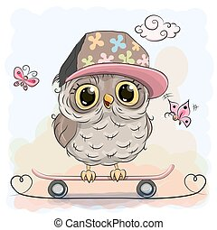 Cute owl on a skateboard