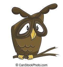 Cute owl on the branch cartoon