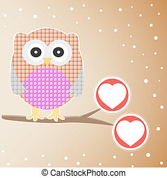 Cute Owl On The Branch with love heart
