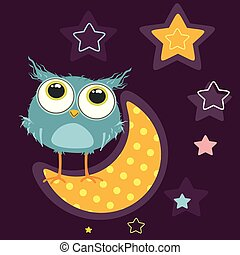 Cute owl on the moon looks at the stars